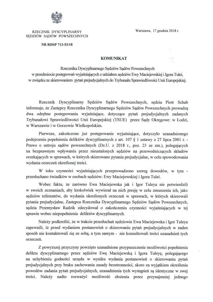 Komunikat Rzecznika Dyscyplinarnego ws. E. Maciejewskiej i I. Tulei_1