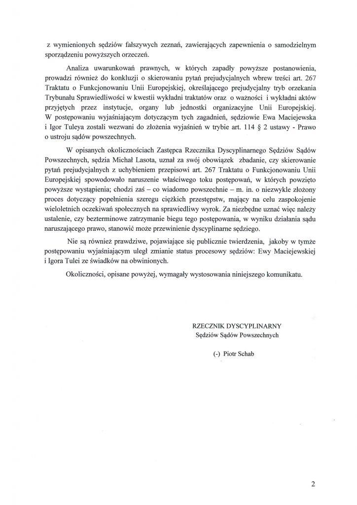 Komunikat Rzecznika Dyscyplinarnego ws. E. Maciejewskiej i I. Tulei_2