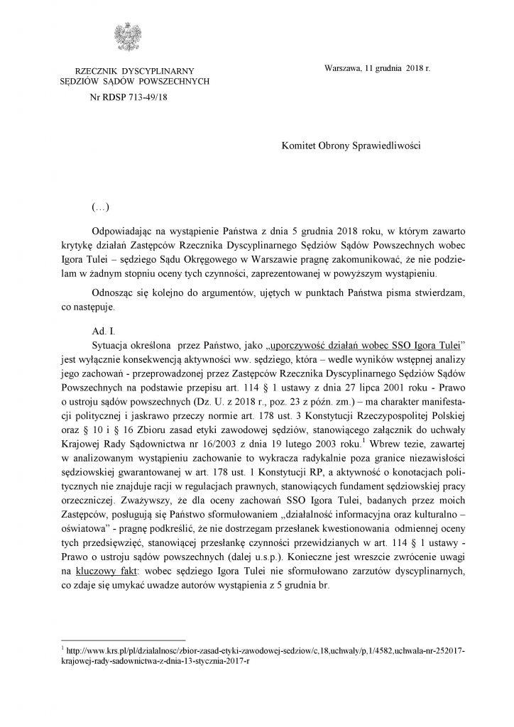 Odpowiedź Recznika Dyscyplinarnego do KOS_1