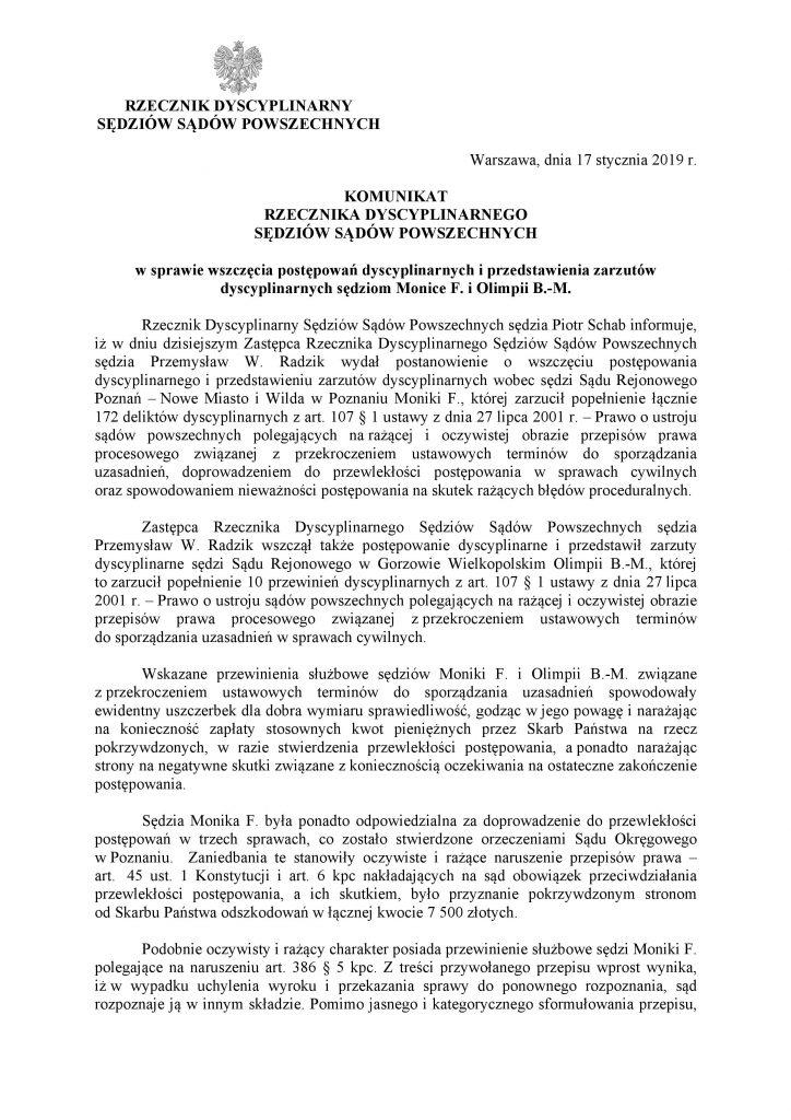 Komunikat Rzecznika Dyscyplinarnego ws. postawienia zarzutów O. Barańskiej Małuszek i M. Frąckowiak_1