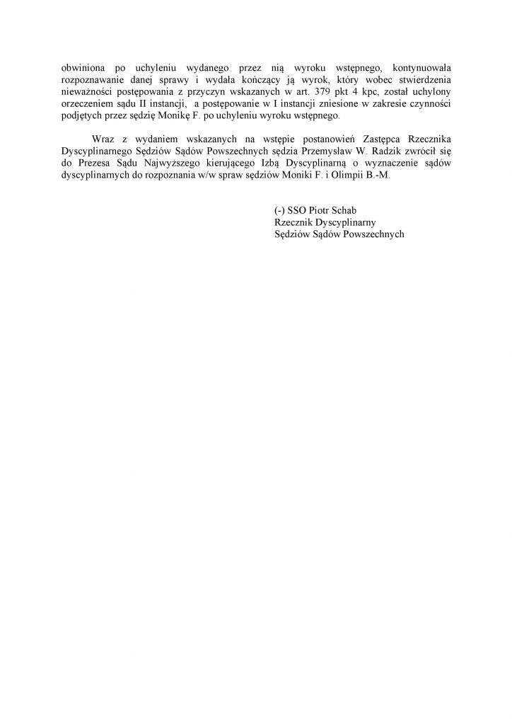 Komunikat Rzecznika Dyscyplinarnego ws. postawienia zarzutów O. Barańskiej Małuszek i M. Frąckowiak_2