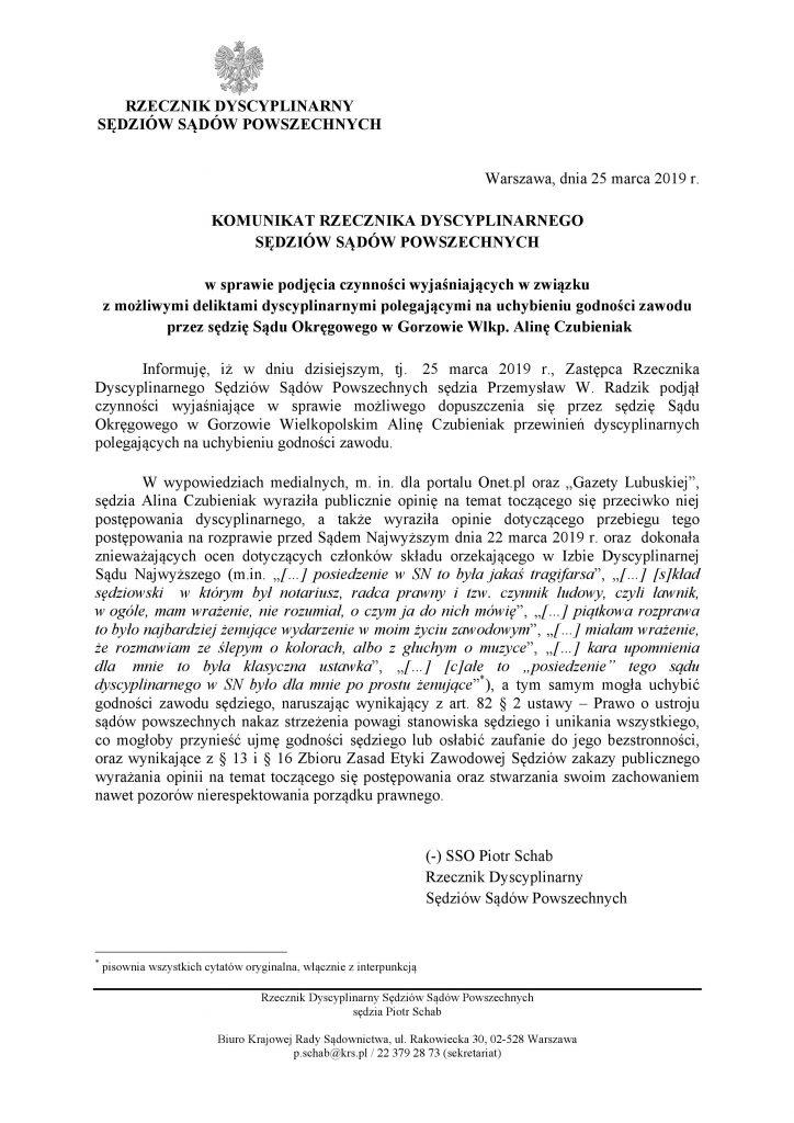 Komunikat rzecznika dyscyplinarnego_A. Czubieniak