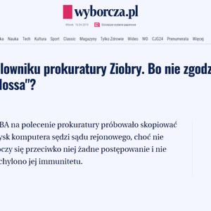 Wyborcza_Sędzia na celowniku prokuratury Ziobry_zdjęcie