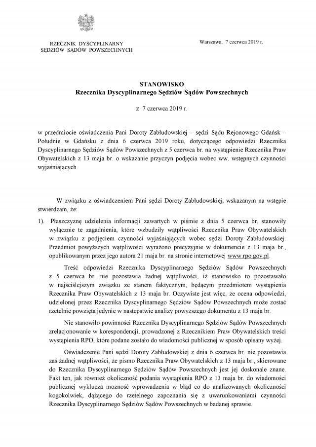 Rzecznik w odpowiedzi do sędzi Zabłudowskiej_1