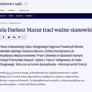Rzeczpospolita_Sędzia Dariusz Mazur traci ważne stanowisko_zdjęcie